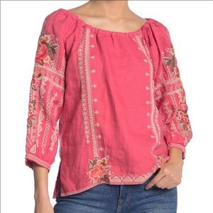 Johnny Was Paola Peasant Tie Blouse Coral Small